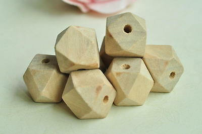 15pcs 18mm Unfinished Natural Wood Bead 14 Hedron Geometric Figure Solid Wooden