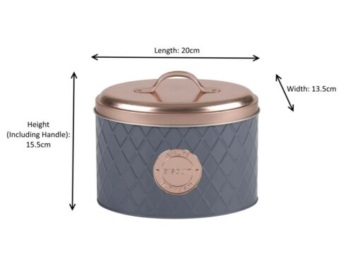 French Style Copper and Grey Metal Tin Bread Pasta Sugar Coffee Biscuits Boxes
