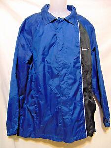cc4576afee Details about NIKE Vintage Men s Full Zip Front Windbreaker Light Jacket M  Medium Blue Black