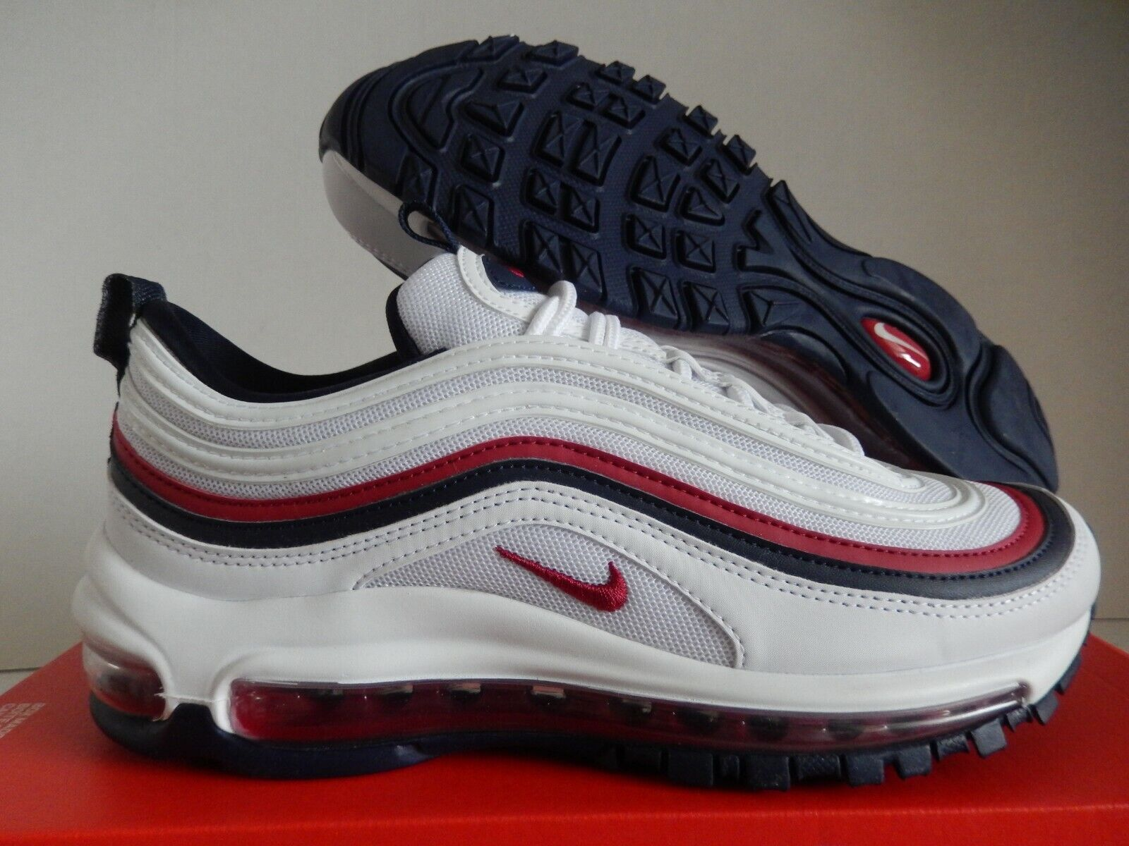 WMNS NIKE AIR MAX 97 WHITE RED CRUSH BLACKENED BLUE SZ 8 [921733 102]