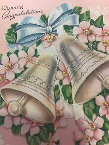 Vintage-Wedding-Card-MCM-Glitter-Bells-Mica-Pink-blue-Silver-POP-Up