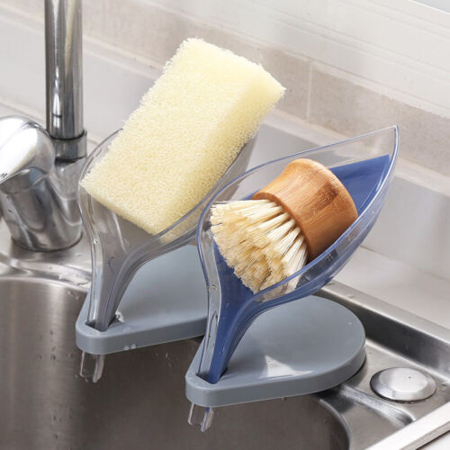 Soap Box Creative Self Draining Soap Holder Leaf Shape Decorative W//Suction Cup