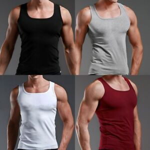 AU-Men-Slim-Singlet-T-Shirt-Top-Gym-Training-Bodybuilding-Muscle-Tee-Shirt-Vest