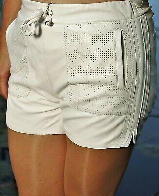 Contemplativo Pelle-shorts Hot Pants Pantaloni Sportivi Da Vera Pelle-bianco Per Donna-mostra Il Titolo Originale Sapore Puro E Delicato