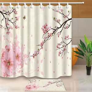 Image Is Loading Cherry Blossoms Bathroom Decor Shower Curtain Waterproof Fabric