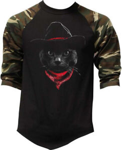 b67827d67 Men's Cowboy Cat Camo Baseball Raglan T Shirt Western Kitten Rodeo ...