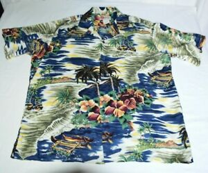 Hilo-Hattie-Blue-Beige-Tropical-Palm-Tree-Men-Hawaiian-Aloha-Shirt-XL-100-Rayon