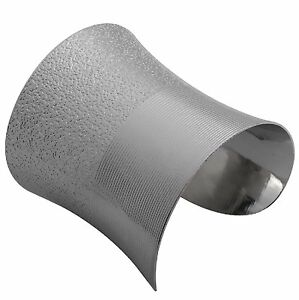 Armreif-Metall-Armspange-9-5-cm-breit-Armband-silber-farbig-Armreifen-BS71