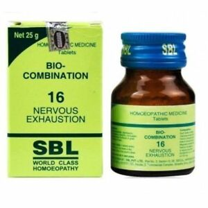 Details about SBL Homeopathic Bio Combination 16 ( BC 16) Tablets for  NERVOUS EXHAUSTION 25gm