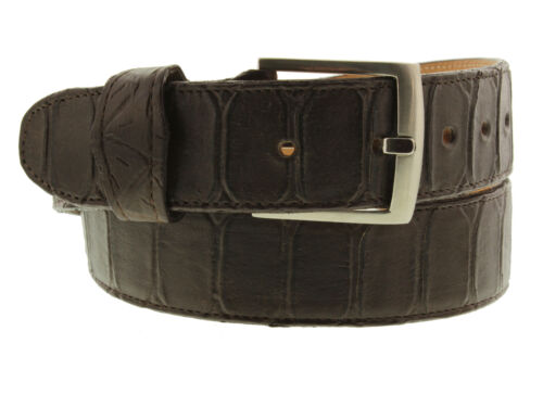 Mens Brown Snake Anaconda Print Leather Belt Cowboy Western Silver Buckle