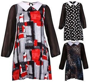 Womens-Printed-Chiffon-Sleeve-Ladies-Peter-Pan-Collar-Swing-Mini-Dress-Plus-Size