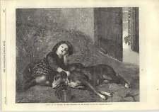 1875 Charming Artwork L'abri  G Bonavia Young Girl With Her Dog