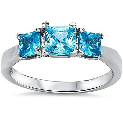 3 Princess Cut Elegant Blue Topaz .925 Sterling Silver Ring Sizes 4-12