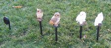 New Set of 4 Solar Garden Owl Owls Lighted Outdoor Lawn Lights Yard Decoration