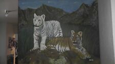 very nice original painting on canvas tiger cubs tigers white african asian lee