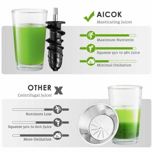 Aicok Juice Quiet Motor  Reverse NEW Juicer Masticating Slow Juicer Extractor