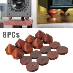 8Pcs-Rosewood-Speaker-Isolation-Feet-Stand-23mm-0-91-034-Wooden-Spikes-Base-Pads