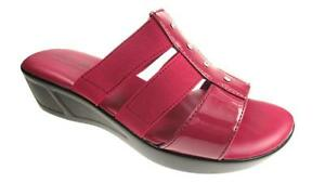 LADIES-SLIP-ON-WEDGE-SANDALS-MEMORY-FOAM-INSOLE-DIAMANTE-DETAIL-RED-SIZE-5-10