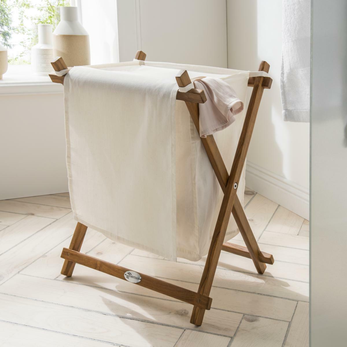 DESTINY Wäschebox mit Gestell Badezimmer Wäschetruhe Stoffbeutel Teakholz Design