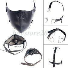 Faux Leather Slave Dog Head Harness Mouth Gag Face Collar Restraints Roleplay SM