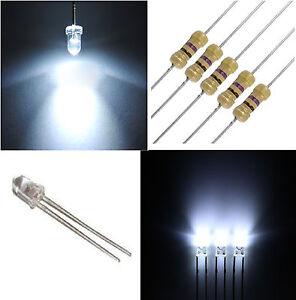 1.000 diodi led 3 mm bianco freddo alta luminosità + RESISTENZE OMAGGIO 1000 Pz