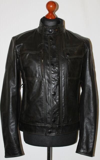 Mens Soft Leather Bomber Jacket Zip Up Blouson Style Tom Black