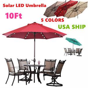 Image Is Loading 10FT Patio Solar Umbrella LED Patio Market Steel