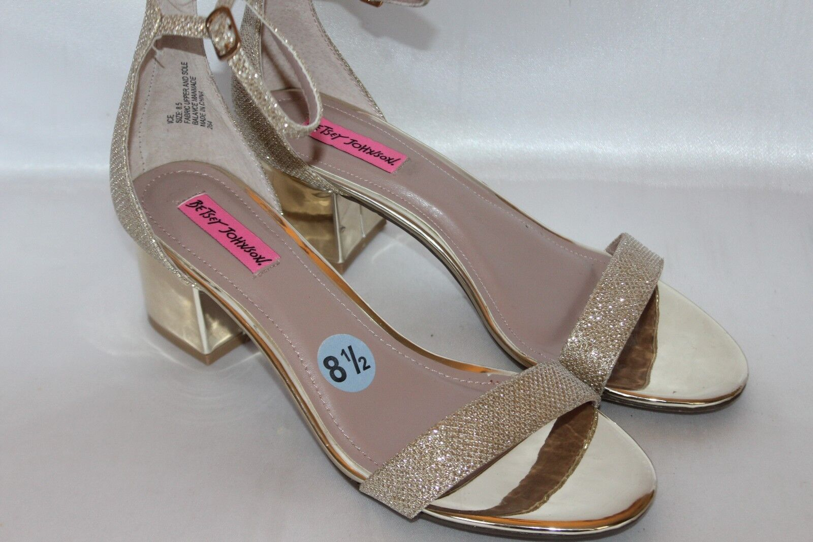 NEW  BETSEY JOHNSON Blau Gold Sparkle Toe LIBRA Ankle Strap Open Toe Sparkle Heels Sz 8.5 e211ce