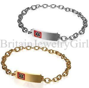 Personalized-Stainless-Steel-Medical-Alert-ID-6mm-Chain-Men-Women-Bracelet-Adj