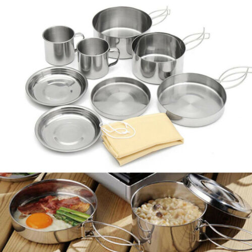 Portable Camping Cook Cooking Cookware Set Pots Pans Stainless Steel Tool Picnic