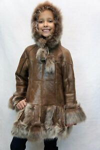 a8107b1a1 Image is loading GINGER-100-GENUINE-SHEEPSKIN-SHEARLING-LEATHER-GIRLS-KIDS-