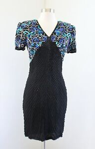 Vtg-Stenay-Black-Blue-White-Silk-Beaded-Sequin-Evening-Party-Dress-Size-4-V-Neck
