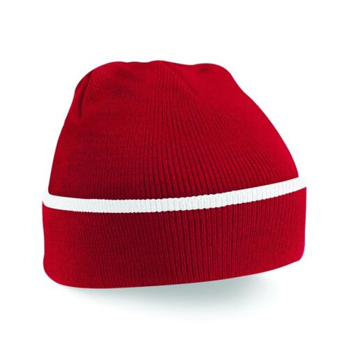 Beechfield Teamwear Bonnet couleurs rayé Cap Double Tricot couche chaude