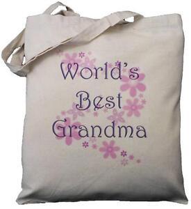 WORLD'S BEST GRANDMA - NATURAL COTTON SHOULDER BAG - Grandparent's Day Gift