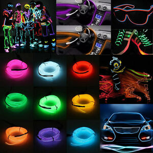 Useful Glow LED Light El Wire String Strip Rope With Battery Box ...
