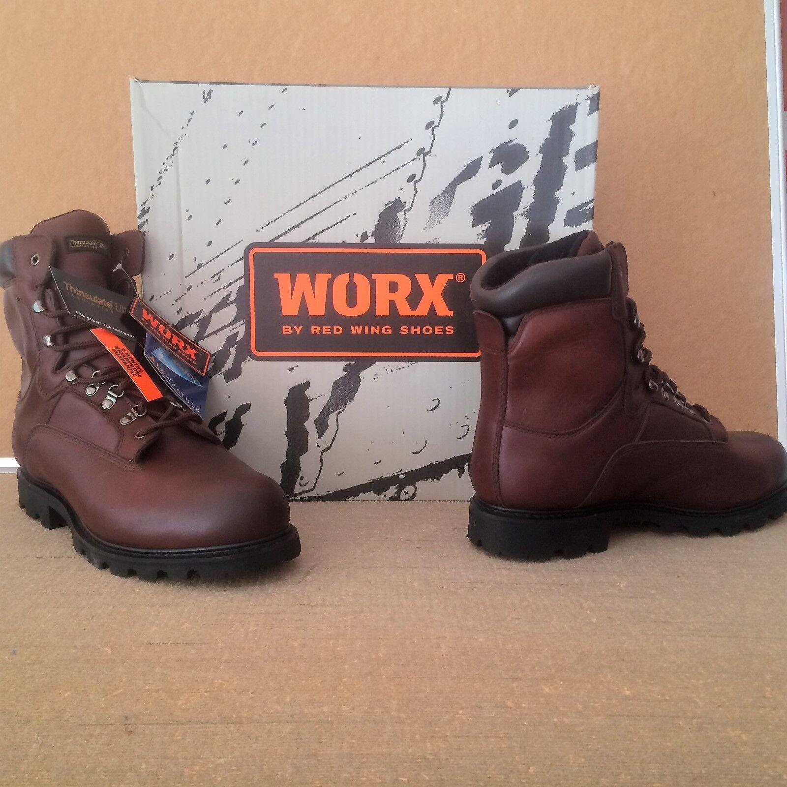 rojo WING WORX - 5432 botas de seguridad de cuero marrón Hecha en EE. UU.