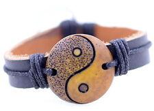 Tibetan style hemp leather yak bone yin ying yang bracelet