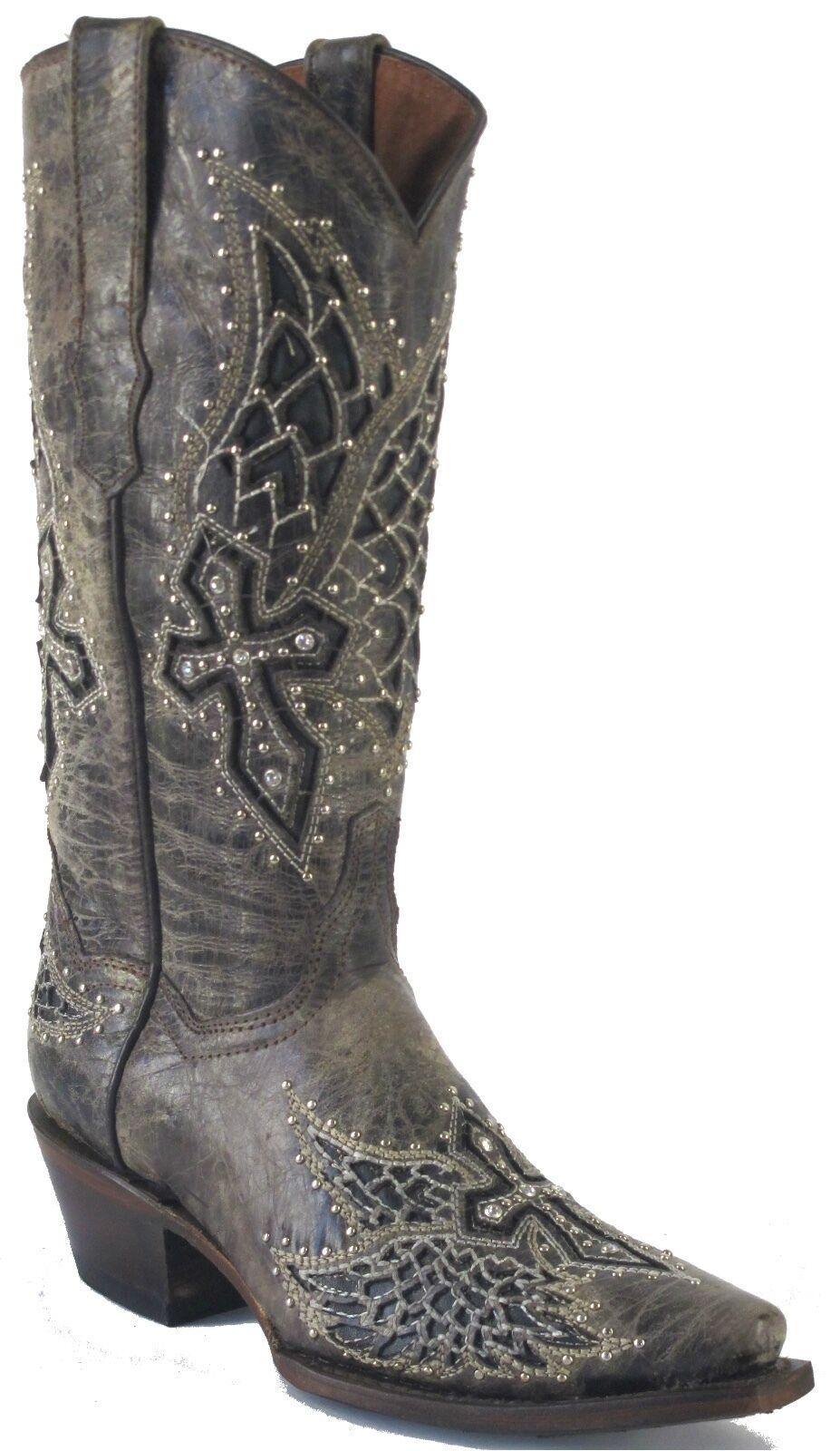 Women's Wings Cross Stud Distressed Leather Cowgirl Western Boots Snip Brown