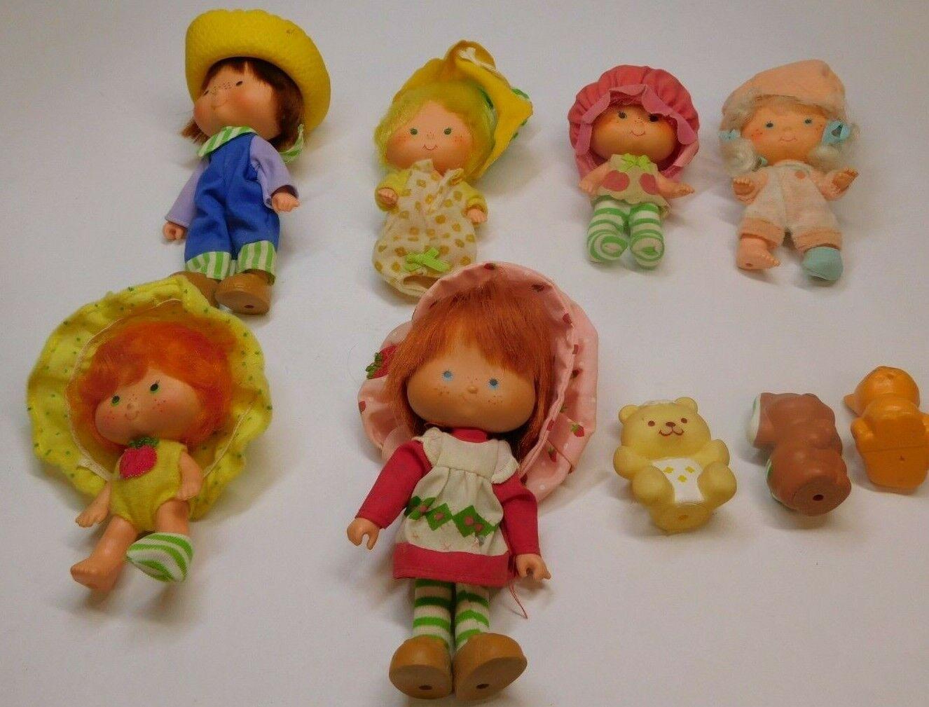 VINTAGE STRAWBERRY SHORTCAKE Lote de 6 Muñecas Con Mascotas Kenner