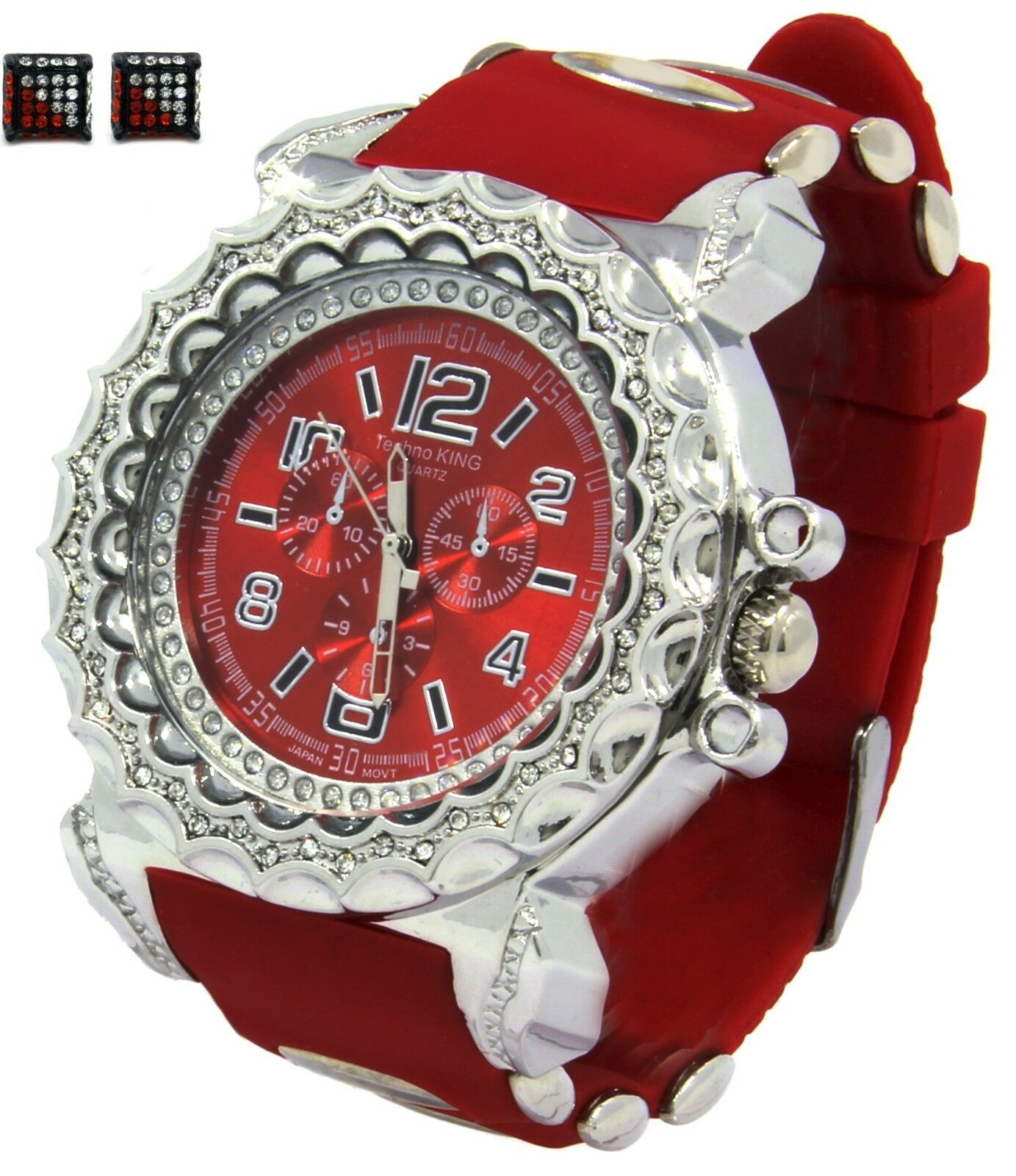 Mens Red Ice HipHop Fashion Casual Silicone Quartz Wrist Watch & Earrings 2pcs