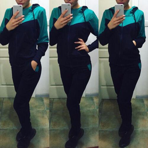 Womens 2Pcs Tracksuit Hooded Sweatshirts Pants Set Jogger Sport Gym Sweat Suit