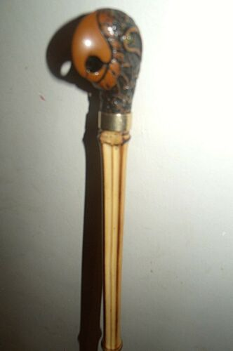 """PARROT PEREQUE WALKING STICK CANE BAMBOO WOOD STICK GOLD COLOUR COLLAR 37/"""" STICK"""