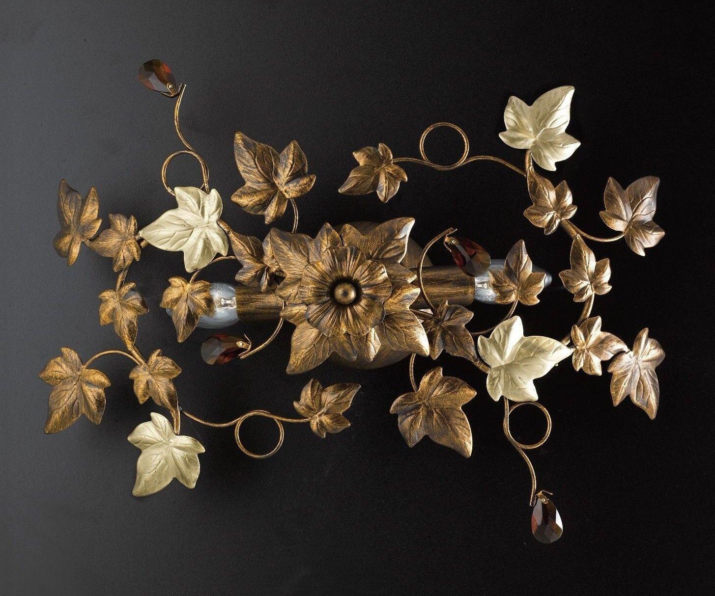 Plafoniera soffitto lampada classico ferro battuto cristalli foglie strass edera edera strass 190220