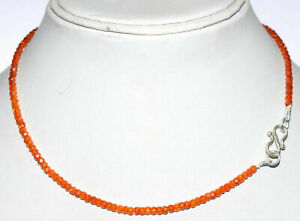 Necklace-Strand-925-Sterling-Silver-Orange-Zircon-3mm-Round-Faceted-Beads-MJ2112