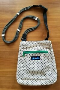 KAVU Crossbody Bag Ivory Canvas with Polka Dots NWOT Cute and Functional!