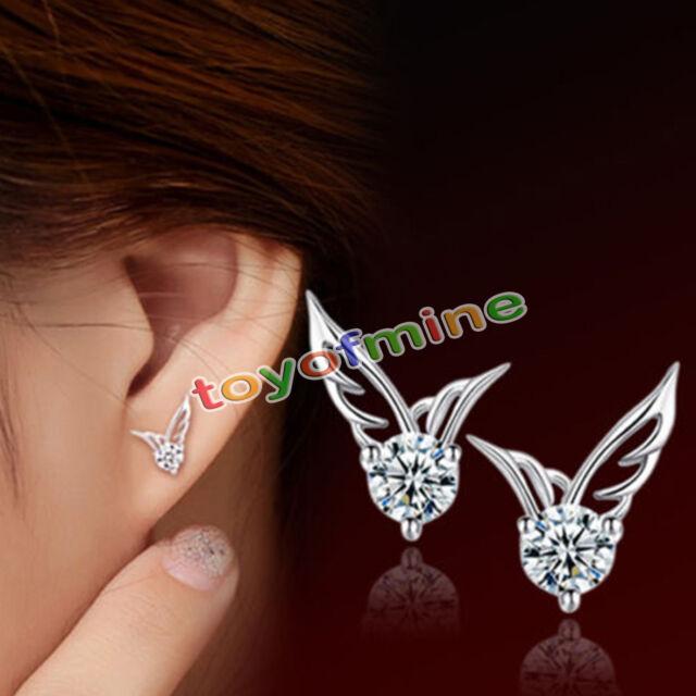 Fashion Women 925 Sterling Silver Jewelry Angel Wings Crystal Ear Stud Earrings
