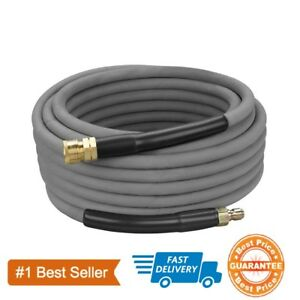 Non-Marking-Pressure-Washer-Hose-4000-PSI-50-ft-Length-50-039-Gray-With-Couplers