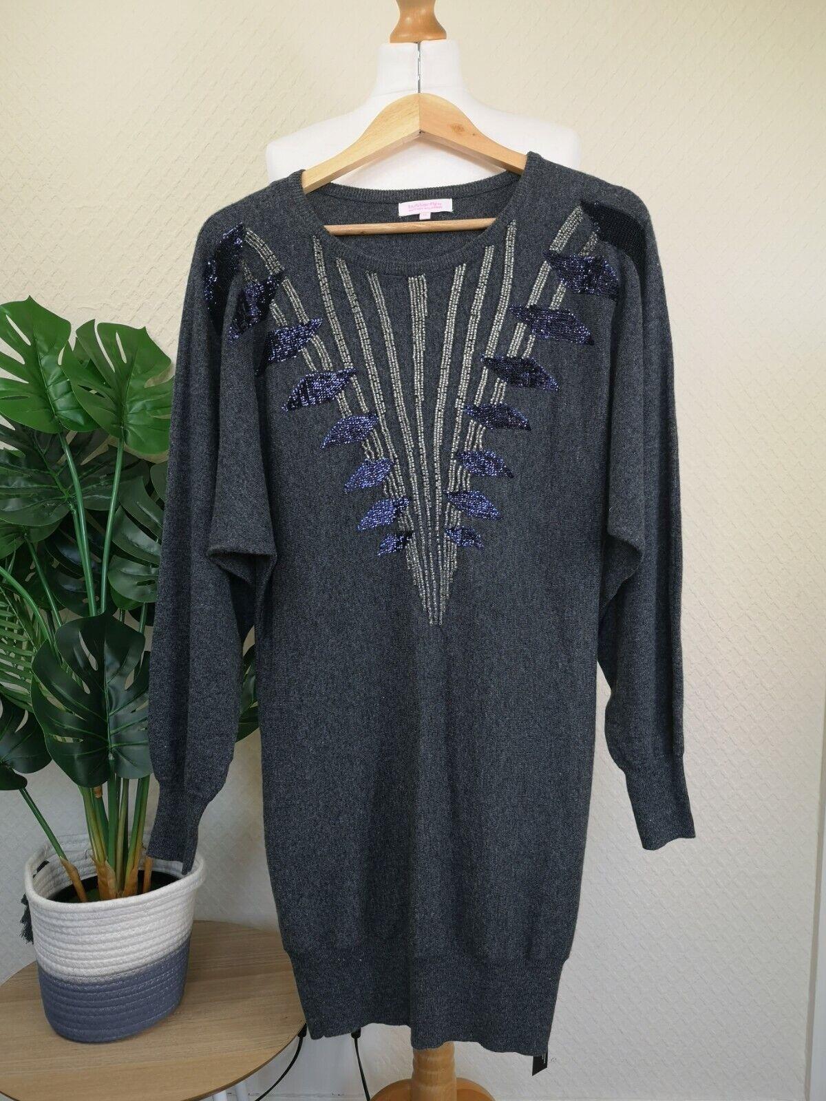 MATTHEW WILLIAMSON Size 12 Grey Knit Jumper Dress Women Sequin 5% Angora Sparkly