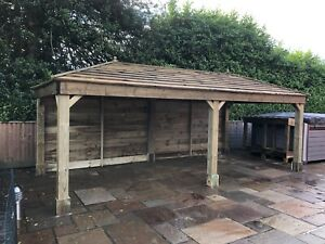 Wooden Car Port Canopy 4 8x4 8 M Freestanding Hand Built Onsite Watertight Roof Ebay