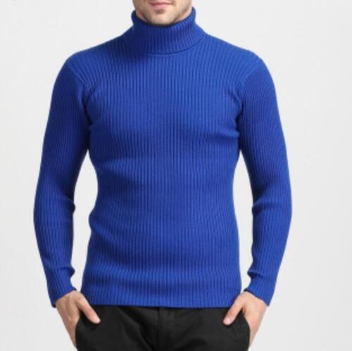 2019Men Slim Long Sleeve Pullover Cardigan Casual Turtleneck Knit Shirt Sweater